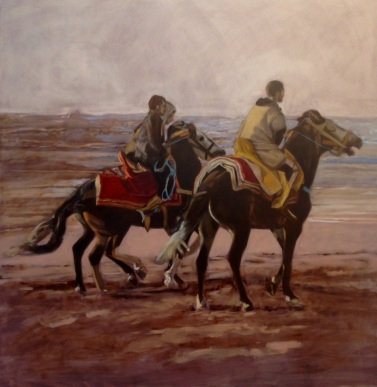 Riders: Morocco. oil on panel, 102x102x4cm
