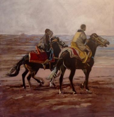 Riders: Morocco. oil on panel, 102x102x4cm