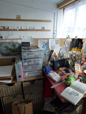 Amy MacKinnon's studio looking into Sue Thomas's studio