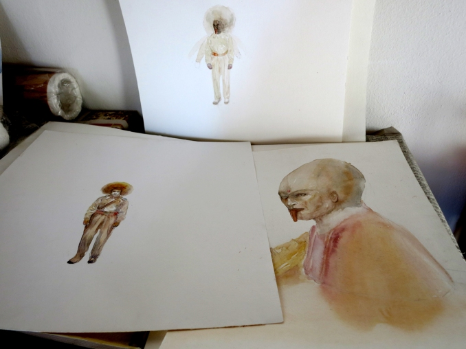Paintings in progress in my studio, Kathmandu