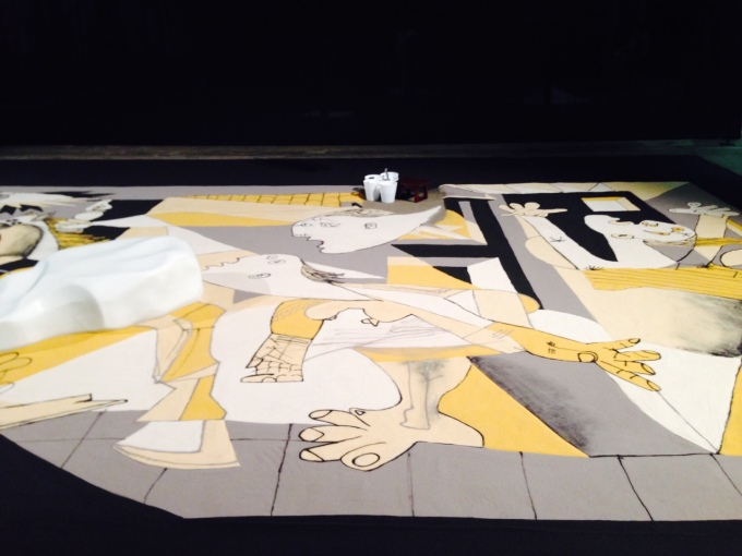 A small detail of Lee Mingwei's Guernica in Sand at Carriageworks.