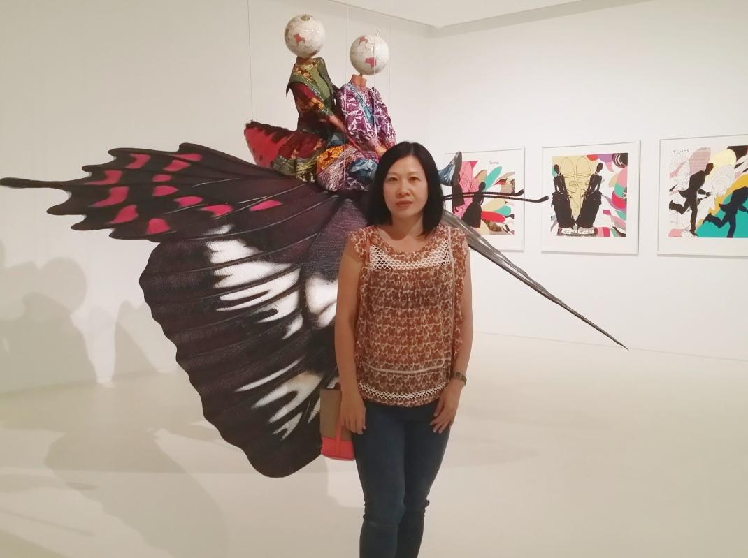 Rozana with Yinka Shonibare's work 'Childhood Memories'